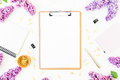 Minimalistic Workspace With Clipboard, Notebook, Pen, Lilac And Accessories On White Background. Flat Lay, Top View. Beauty Blog C Stock Image - 92365071