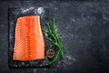Raw Salmon Filet On Dark Slate Background, Wild Atlantic Fish, Space For Text Stock Photography - 92368352