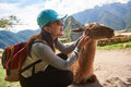 Tourist Woman Play With Lama Royalty Free Stock Image - 92376426