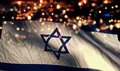 Israel National Flag Light Night Bokeh Abstract Background Royalty Free Stock Photo - 92376625