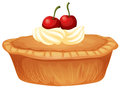 Cherry Pie With Cream And Fresh Cherries Royalty Free Stock Photography - 92377587
