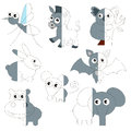 Cute Grey Color Animals, The Big Kid Game To Be Colored By Example Half. Stock Images - 92380314