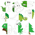 Green Color Animals, Fruits And Vegetables, The Big Kid Game To Be Colored By Example Half. Royalty Free Stock Photo - 92380375