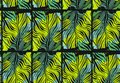Hand Drawn Vector Abstract Tropical Seamless Pattern With Exotic Jungle Palm Leaves And Freehand Textures In Green Stock Images - 92390464