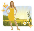 Sunny Landscape And Girl Stock Photos - 9243423