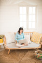Happy Casual Beautiful Asian Young Woman Working On A Laptop At Stock Photos - 92402313