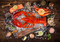 Fresh Tasty Seafood Served On Old Wooden Table. Royalty Free Stock Images - 92403689