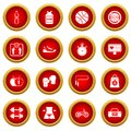 Healthy Life Icon Red Circle Set Royalty Free Stock Image - 92409846