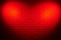 Dark Red Brick Wall With Heart Shape Light Effect And Shadow, Ab Royalty Free Stock Images - 92410089