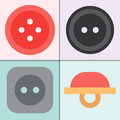 Set Of Four Vector Sewing Buttons With Threads Round Clothing Dressmaking Tool Illustration Royalty Free Stock Image - 92416306