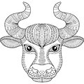 Vector Coloring Book For Adult. Silhouette Of Bull Isolated On White Background. Zodiac Sign Taurus. Abstract Background Animal Pr Royalty Free Stock Photos - 92419898