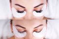Eyelash Extension Procedure. Female Eyes Before And After. Stock Photo - 92423050