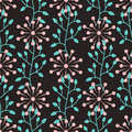 Seamless Pattern With Abstract Round Flowers And Plant Elements. Stock Images - 92424784