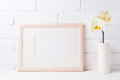 Wooden Landscape Frame Mockup With Soft Yellow Orchid In Vase Royalty Free Stock Photos - 92433318