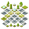 Vector Set Of Isometric City Elements, Crossroads, Road, Garden Decoration. Benches, Fountain Trees And Bushes Royalty Free Stock Images - 92440939
