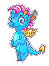 Little Cute Cartoon Dragon Patch. Royalty Free Stock Photography - 92445297
