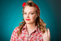Pretty Pinup Girl In Retro Vintage 50`s Style Stock Photo - 92449840