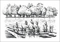 Vector Illustration Of River Landscape With Trees, Water Waves And Reflexion. Black And White Sketch. Stock Photo - 92457910