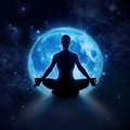 Yoga Woman In Moon And Star. Meditation Girl In Moonlight Stock Photos - 92463773