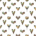 Vector Hand Drawn Seamless Pattern, Decorative Stylized Childish Hearts. Doodle Style, Tribal Graphic Illustration Cute Hand Drawi Royalty Free Stock Photo - 92467355