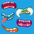 Cartoon Cute Monster Mouths Set With Different Emotional Expressions. Teeth, Tongue, Mouth Collection. Halloween Vector Stock Image - 92472101