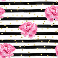 Abstract Background - Watercolor Stripes - Gold Confetti And Pink Roses - Seamless Pattern Wallpaper Royalty Free Stock Photo - 92480095
