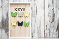 Key Chain Holder On White Wooden Background Royalty Free Stock Photography - 92484157