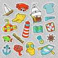 Nautical Marine Life Doodle With Fish, Submarine And Boat. Stickers, Badges And Patches Royalty Free Stock Photography - 92487277
