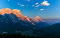 Warm Sunset Landscape Over Mountains. Dolomites Italy Royalty Free Stock Photo - 92487805