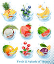 Big Collection Of Fruit In A Water Splash. Royalty Free Stock Photo - 92495905