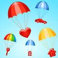 Gifts On Parachutes Royalty Free Stock Photo - 9259855