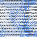 Blue Striped Palm Leaves Seamless Pattern. Royalty Free Stock Photography - 92508687
