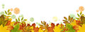 Autumn Border With Dried Leaves And Paint Blots In Yellow, Orang Stock Photography - 92539192