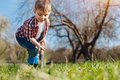 Industrious Child Gardening In Spring Royalty Free Stock Photography - 92548147