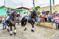 Horseback Cowboy & Cowgirl Ride In Village, Guatemala Stock Photos - 92557403