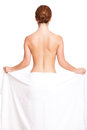 Attractive Brunette Woman Covered Only By A Towel Royalty Free Stock Image - 92560136
