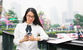 Business Woman Texting In Modern Environment Stock Photography - 92574442