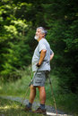 Active Senior Hiking In High Mountains Royalty Free Stock Image - 92585066