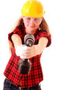 Girl  And Drill Royalty Free Stock Photography - 9264157