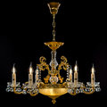 Contemporary Gold Chandelier Isolated On Black Background. Close-up . Crystal Chandelier Royalty Free Stock Image - 92615046