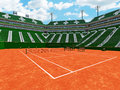 3D Render Of Beautiful Modern Tennis Clay Court Stadium  Green Seats For Fifteen Thousand Fans Royalty Free Stock Photo - 92618815