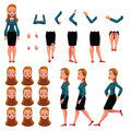 Businesswoman, Woman Character Creation Set With Different Poses, Gestures, Faces Royalty Free Stock Photo - 92643065