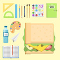 School Supplies Children Stationary Educational Accessory Student Notebook Vector Illustration. Royalty Free Stock Images - 92656579