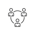 People Circle, Group Of Users Line Icon, Outline Vector Sign, Linear Style Pictogram Isolated On White. Symbol, Logo Illustration. Royalty Free Stock Images - 92661429