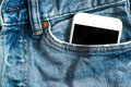 Close Up Of Smartphone In Front Pocket On Pants Stock Images - 92661494