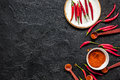 Hot Food With Red Chili Pepper Dark Table Background Top View Mo Stock Image - 92664501