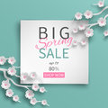 Spring Sale Banner Floral Template With Paper Cut Frame And Blooming Pink Cherry Flowers Royalty Free Stock Photos - 92671898