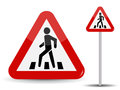 Road Sign Warning. In Red Triangle Man At Pedestrian Crossing. Vector Illustration. Royalty Free Stock Photos - 92677708