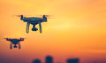 Close Up Photo Of Two Professional Remote Control Air Drones Stock Photography - 92680792