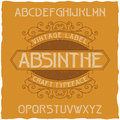 Absinthe Label Font And Sample Label Design With Decoration. Stock Image - 92682201